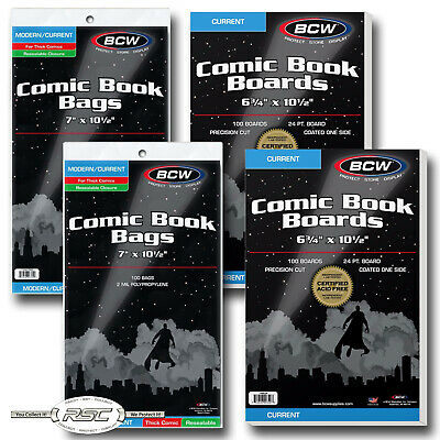 200 - BCW CURRENT Backing Boards & THICK RESEALABLE 2-Mil Poly Comic Book Bags!