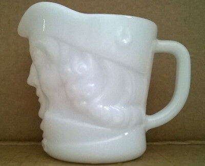 Federal Glass Milk White Glass Face Toby Pitcher Creamer