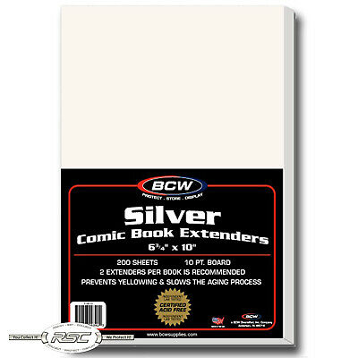 "200 - BCW SILVER COMIC BOOK LIFE EXTENDERS - Certified Acid Free - 6-3/4"" x 10"""