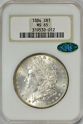 1884 Morgan Silver Dollar NGC MS65 - CAC Approved! Old NGC No Line Holder