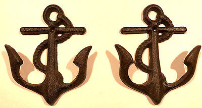 Set of Two Ship Anchor Cast Iron Metal Wall Hooks, Organize Bed and Bathrooms
