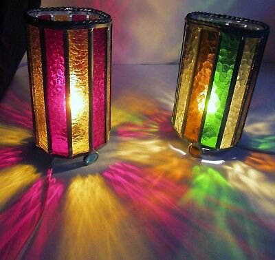 Pair of Vintage Leaded Stained Glass Tabletop Night Stand Mantle Lamps
