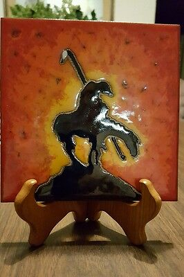 Indian on Horse Beautiful Decorative 6 x 6 Ceramic Tile in Orange, Yellow, Blk