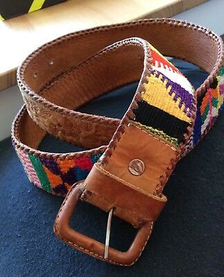 Vintage Leather Woven Mexican Ethnic Hippie Boho Belt 70s Size 32