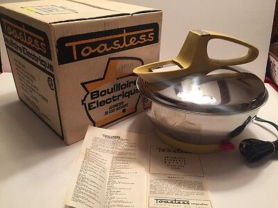 Vtg Mid-Century Mod TOASTESS STAINLESS STEEL HARVEST GOLD Electric Kettle