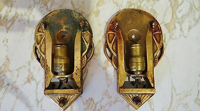 1920s 30s Vtg Pair Antique Art Deco Slip Shade Sconce Lights Lamps Brass Frames
