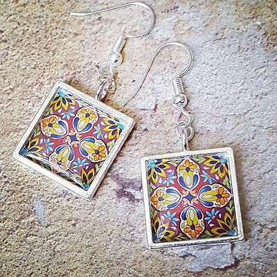 Unique STAINED GLASS EARRINGS handmade ART NOUVEAU victorian VINTAGE style GIFT