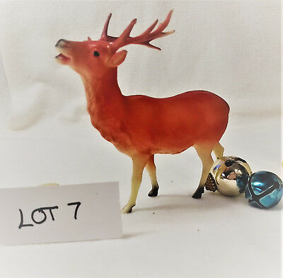 2 RARE Red Vintage Celluloid Christmas Reindeer Decoration Ornament Figure LOT 7