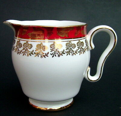 Royal Stafford 1970's Red Scrolls 8686 Tea Size Bulbous 300ml Milk Cream Jug 9cm
