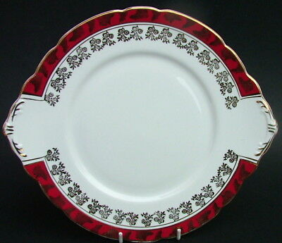 Royal Stafford 1970's Red Scrolls 8686 Cake Gateau Sandwich Plate 27cm - in VGC