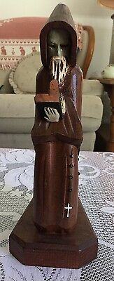 Vintage Hand Carved Wood Monk Kneeling Praying Reading with Bible and Rosary