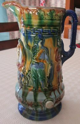Reproduction Sandford Majolica Crimean War Relief Molded Pitcher