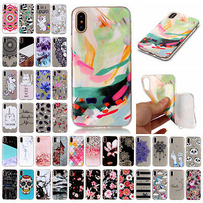 For iPhone X 7 8 Plus TPU Ultra Slim Soft Silicone Patterned Case Rubber Cover
