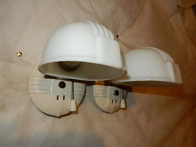 Pr. Art Deco  Bathroom Porcelain and Milk Glass Wall Sconce----3 Pr. Avail.