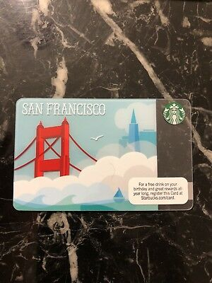 Rare Starbucks Card 2010 San Francisco Bridge & Clouds - New MINT Condition