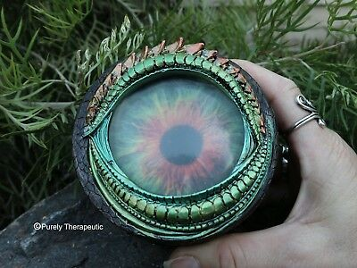 DRAGON EYE MEDIEVAL TRINKET BOX~Green Fantasy Gothic Wicca Pagan Magic Ritual