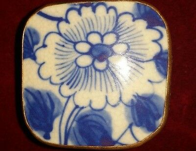 Vintage Chinese Hand Tooled Shard Box, Jewelry Box, Porcelain Blue and White NO2