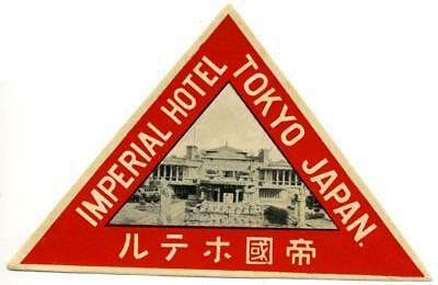 Imperial Hotel (built by FRANK LLOYD WRIGHT) ~TOKYO JAPAN~ Old Luggage Label