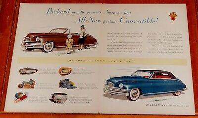 Rare 1948 Packard Convertible Large Vintage Ad / Classic 1940S American Auto