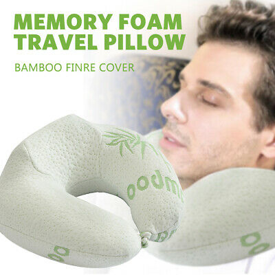 U-Shaped Memory Foam Travel Pillow Neck Support Bamboo Durable Fibre Cover