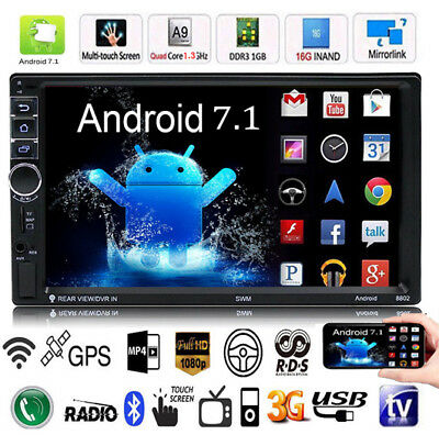 """Quad Core Android 7.1 3G WIFI 7"""" Double 2DIN Car Radio Stereo MP5 Player GPS Nav"""