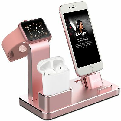 Apple Watch Rose Gold Stand iPhone X 8 7 Charging Dock Station AirPods Holder