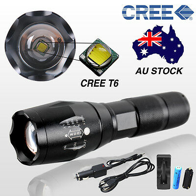 8000LM CREE T6 LED Zoomable Torch Waterproof Flashlight Hunting Battery+Chargers