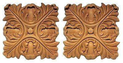 Superb Ecclesiastical Onlay Medallions Carved Wood Unfinished Matched Pair