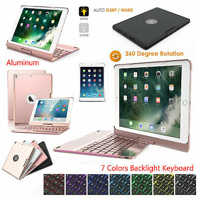 """iPad 6th 9.7"""" 2018/2017 5th Gen 7 Color Backlight Keyboard Case 360 Rotate Cover"""