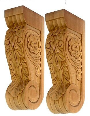 Exquisitely Carved Pair of Wooden Furniture Corbels or  Bookends Unfinished