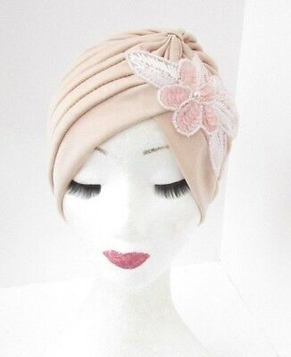 Cream Blush Light Pink Sequin Embellished Turban Headpiece 1920s Flapper 4853