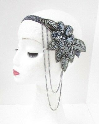 Dark Grey Charcoal Chain Headband Headpiece 1920s Great Gatsby Flapper Vtg 4855