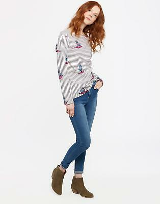 Joules Harbour Womens Print Jersey Top Shirt in Cream Painted Pheasant Stripe