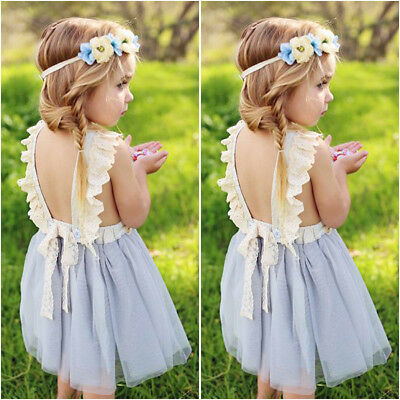 Kids Toddler Baby Girl Clothes Sleeveless Flower Tutu Dress Party Dress 2-7T
