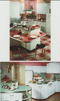 Vintage 1950's GENEVA Kitchen Mid-Century Modern Atomic Ranch Postcard Set Of 2