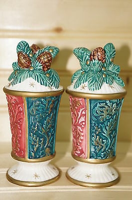 Fitz Floyd Damask Christmas Salt & Pepper Shaker Set with Stoppers -Pinecones
