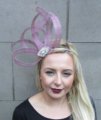 Dusky Dusty Rose Pink Silver Sinamay Fascinator Races Alice Band Headband 4863