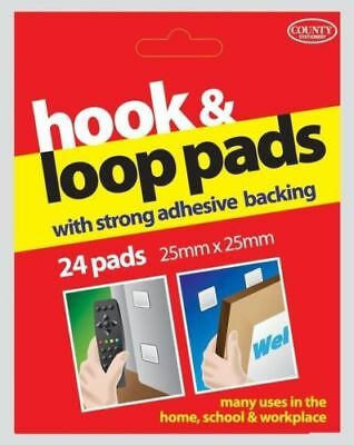 24 Hook & Loop sticky back pads/25mm x 25mm Squares/Strong Self Adhesive backing