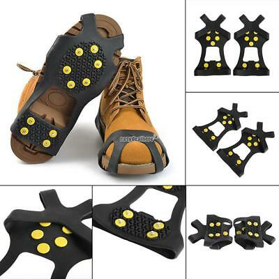 Anti-Slip Ice Snow Shoe Spike Grips Cleats Covers Crampons 10-Stud Outdoor Sport