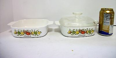 2 Corning Spice of Life Casseroles 1 Lid 1 QT A1B  One to Eat, One to freeze!