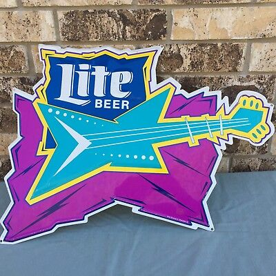 "Vintage Miller Lite Beer Tin Metal Sign Fender Guitar 18""X24"" Retro 1980's Logo"