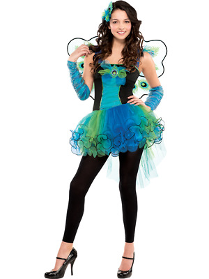 Girls Colorful Peacock Bird Carnival Fancy Dress Costume Outfit /& Wings 3-10Yrs