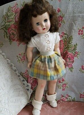 "Vintage 18"" Horsman Doll All Composition Gold Medal Slender Girl Sleep Eyes Wig"