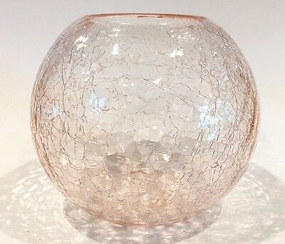 """Pink Crackle Glass Heavy Rose Bowl 5-1/2"""""""