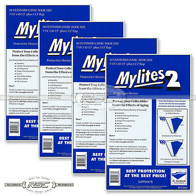 200 - E. GERBER MYLITES 2 STANDARD (BRONZE) 2-Mil Mylar Comic Bags Sleeves 725M2