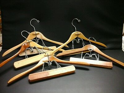 5 Vintage Men's Wood Suit Hangers Very Sturdy