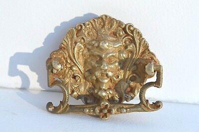 Antique Victorian Bronze Figural Monster Face Furniture Drawer Pull