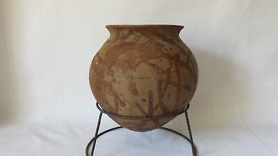 """Ancient Chinese Painted Footless Terracotta Jar w Stand 10"""""""