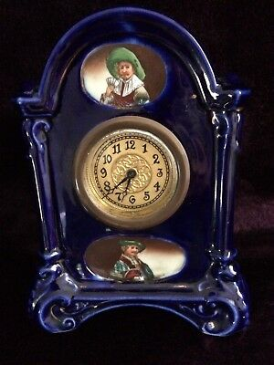 Vintage Beautifully Hand Painted  Blue Small Porcelain Clockwork  Mantel clock