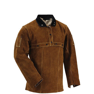 Welding Cape Sleeve and Bib,Unisex Brown FR Cowhide Leather Welding Jacket S-4XL